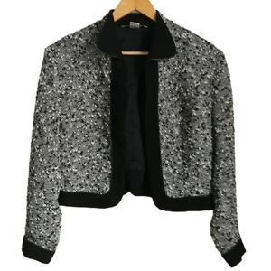 VINTAGE 80s Grey Wool Cropped Open Front Blazer
